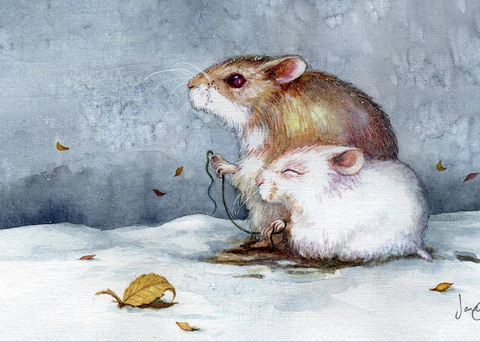 Hamster Greeting Card featuring the painting First Snow by Janet Chui
