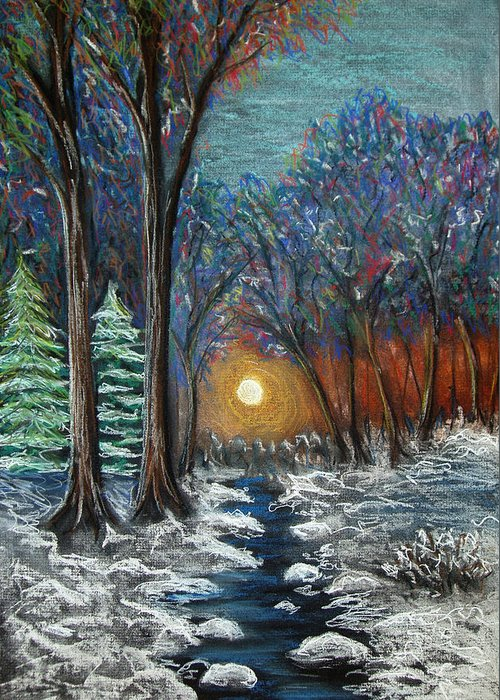 Snow Greeting Card featuring the pastel First Snow by Nancy Mueller