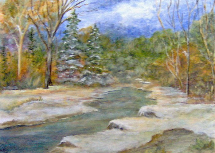 Landscape Greeting Card featuring the painting First Snow of Winter by Lorna Skeie