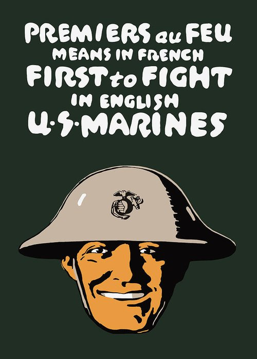 Marine Corps Greeting Card featuring the painting First To Fight - Us Marines by War Is Hell Store