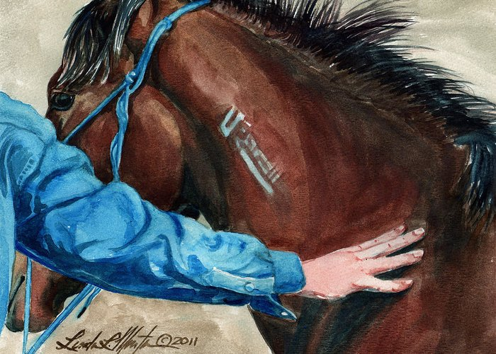 Mustang Makeover Greeting Card featuring the painting First Touch by Linda L Martin