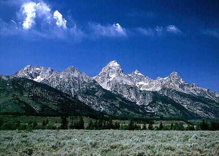 Mountains Greeting Card featuring the photograph First View Of Tetons by Kathy McClure