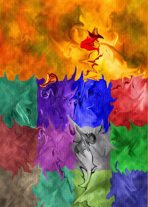 Abstract Greeting Card featuring the digital art Fish Are Jumping by Tom Romeo