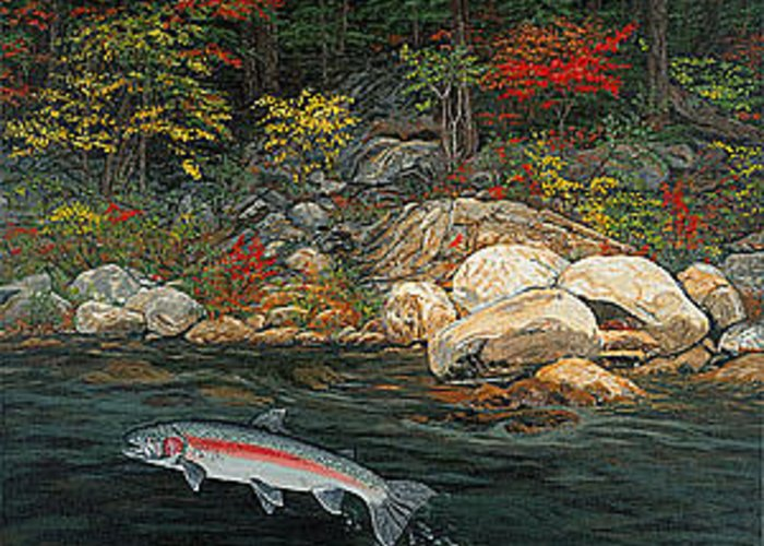 Art Greeting Card featuring the painting Fish Art Jumping Silver Steelhead Trout Art Nature Artwork Giclee Wildlife Underwater Wall Art Work by Patti Baslee