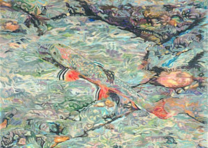 Art Greeting Card featuring the drawing Fish Art Trout Art Brook Trout Brookie Artwork Nature Underwater Wildlife Creek Art River Art Lake by Baslee Troutman
