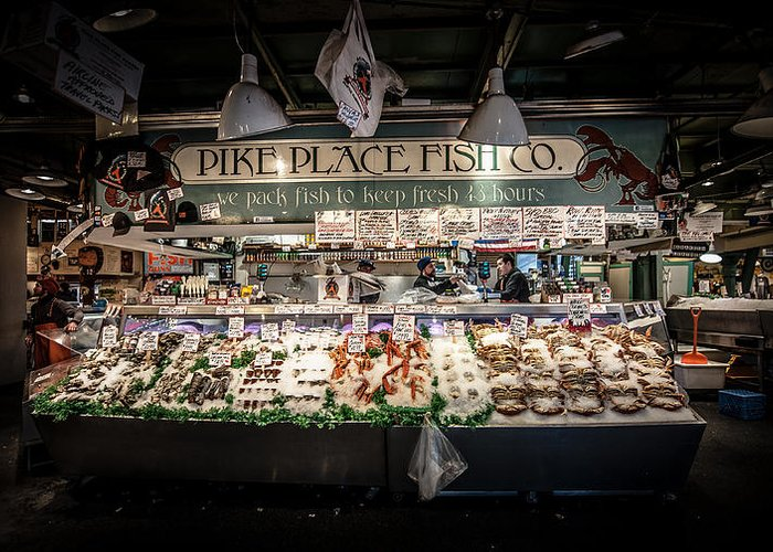 Pikes Place Fish Co Market Seattle Icon Counter Northwest Puget Sound Greeting Card featuring the photograph Fish Counter by Rick Takagi