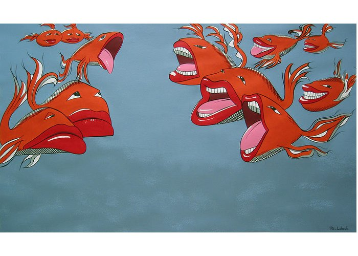 Seascape Greeting Card featuring the painting Fish Fight by Patricia Van Lubeck