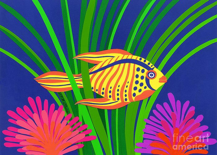 Nature Greeting Card featuring the drawing Fish by Lucyna A M Green