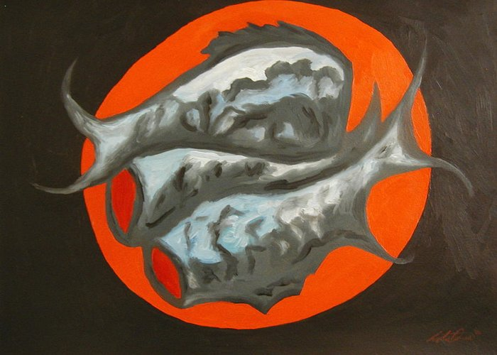 Still-life Greeting Card featuring the painting Fish Platter by Angelo Thomas