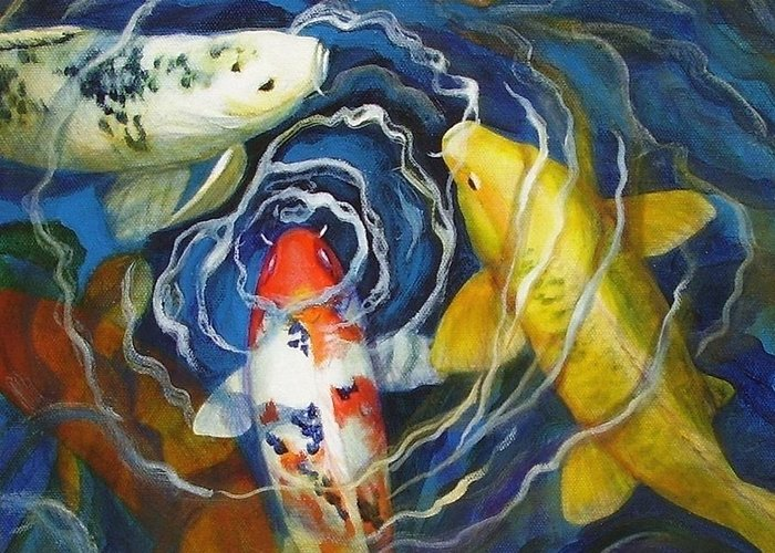 Fish Greeting Card featuring the painting Fish Soup by Pat Burns