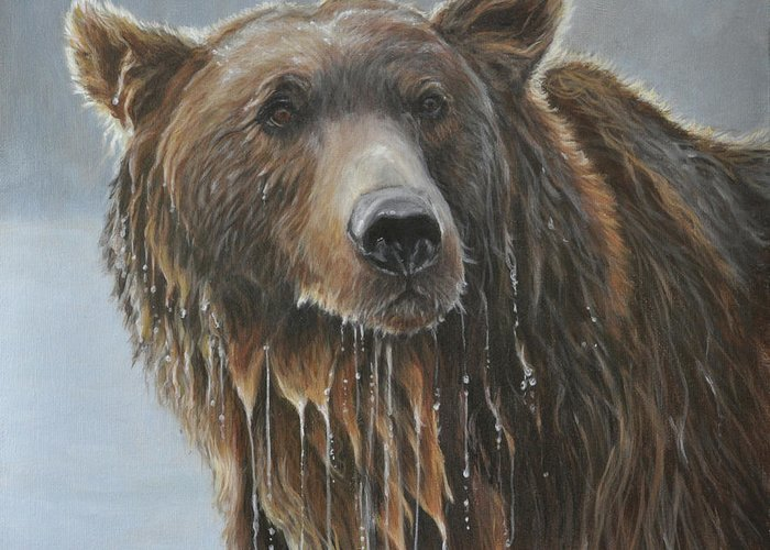 Grizzly Bear Greeting Card featuring the painting Fish Story-Up for Air by Tahirih Goffic