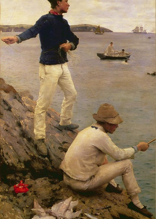 Squid; Guernsey; Jersey; Kerchief Greeting Card featuring the painting Fisher Boys Falmouth by Henry Scott Tuke