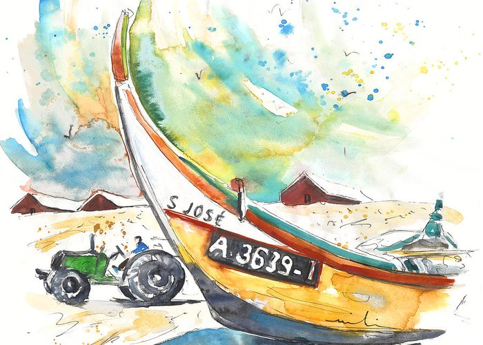 Portugal Greeting Card featuring the painting Fisherboat In Praia De Mira by Miki De Goodaboom