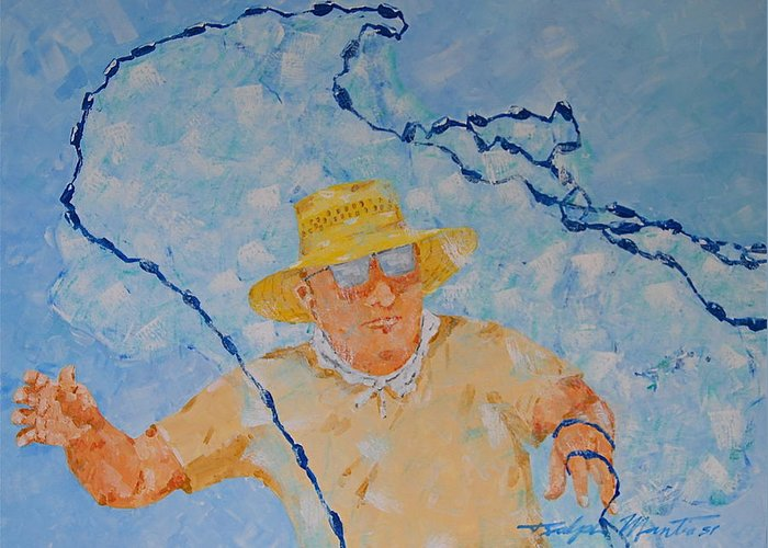 Beach Art Greeting Card featuring the painting Fishermans Bait Cast by Art Mantia