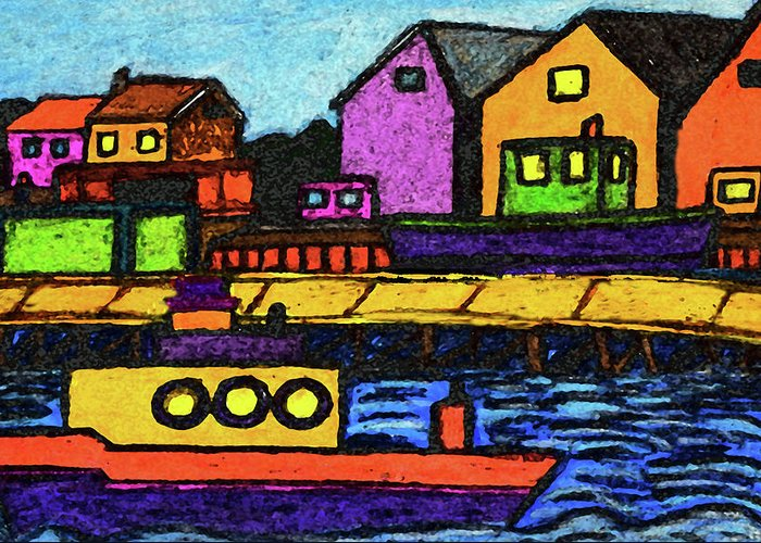 Tugboats Greeting Card featuring the drawing Fishermans Dock by Monica Engeler
