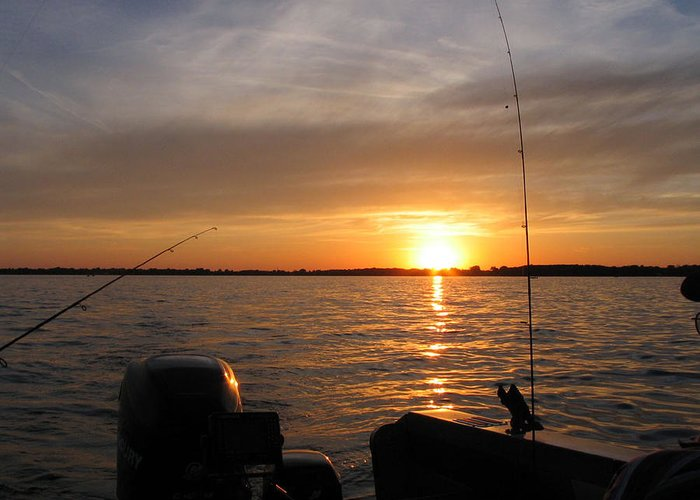 Boat Rods Fishing Sunset Winnebago Lake Greeting Card featuring the photograph Fishermans Sunset by Jack G Brauer