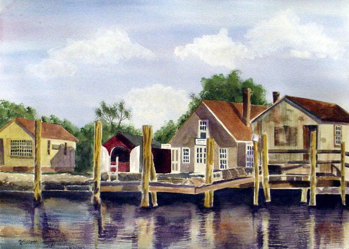 River Greeting Card featuring the painting Fisherman's Wharf by Marsha Elliott