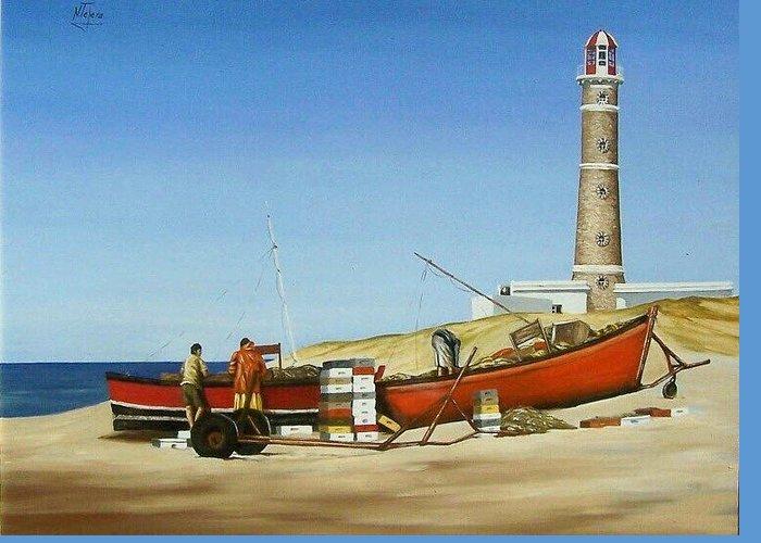 Lighthouse Fishermen Sea Seascape Greeting Card featuring the painting Fishermen By Lighthouse by Natalia Tejera