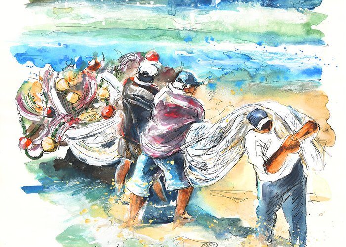 Portugal Greeting Card featuring the painting Fishermen In Praia De Mira by Miki De Goodaboom