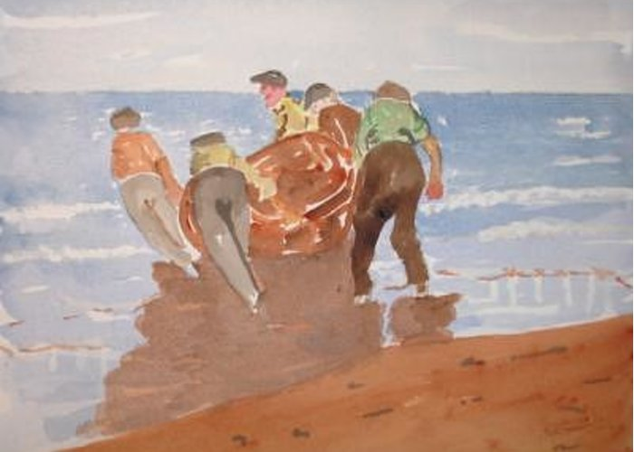 Sea Boat Greeting Card featuring the painting Fishermen by Roger Cummiskey