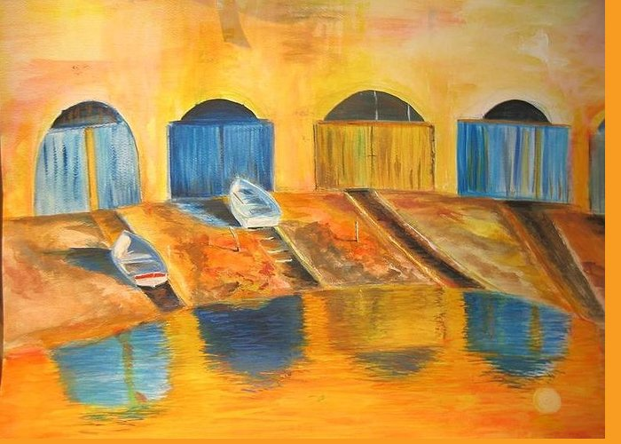 Boats Greeting Card featuring the painting Fishermens Boats At Sundown by Lizzy Forrester