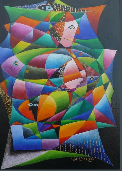 Faces Greeting Card featuring the painting Fishes And Faces by Val Stokes