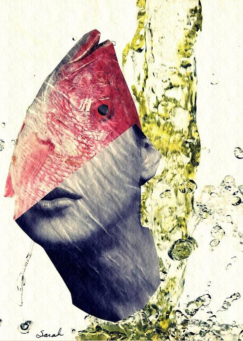 Head Greeting Card featuring the mixed media Fishhead by Sarah Loft