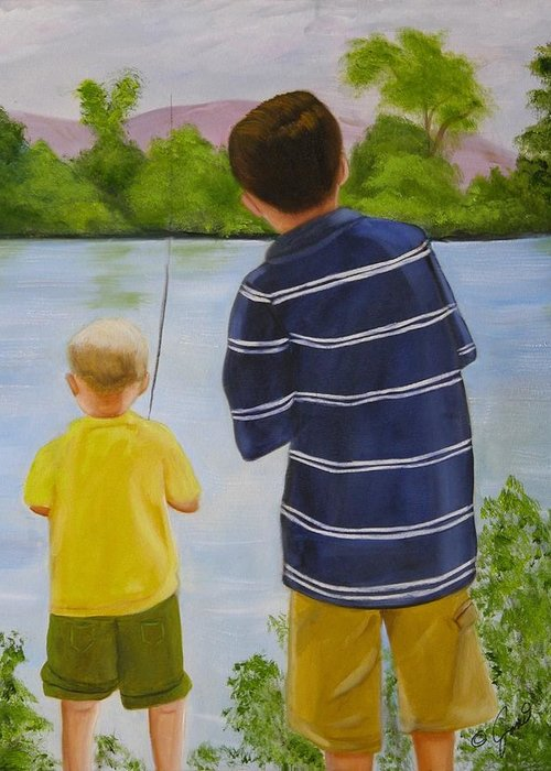 Children Greeting Card featuring the painting Fishin by Joni McPherson
