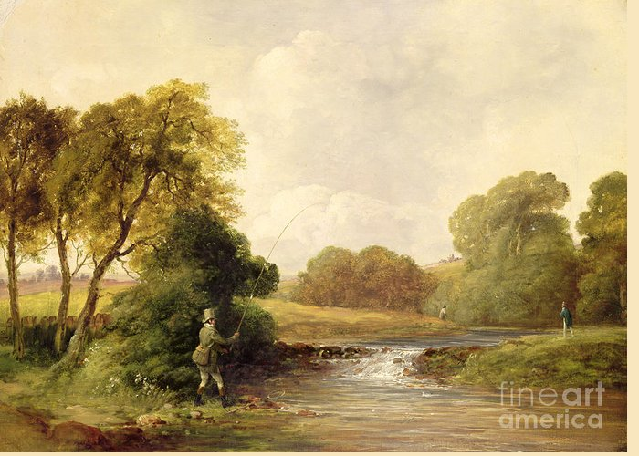 Fishing Greeting Card featuring the painting Fishing - Playing A Fish by William E Jones