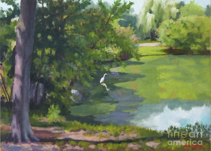 Pond Greeting Card featuring the painting Fishing At Glen Rock Pond by Lou Spina