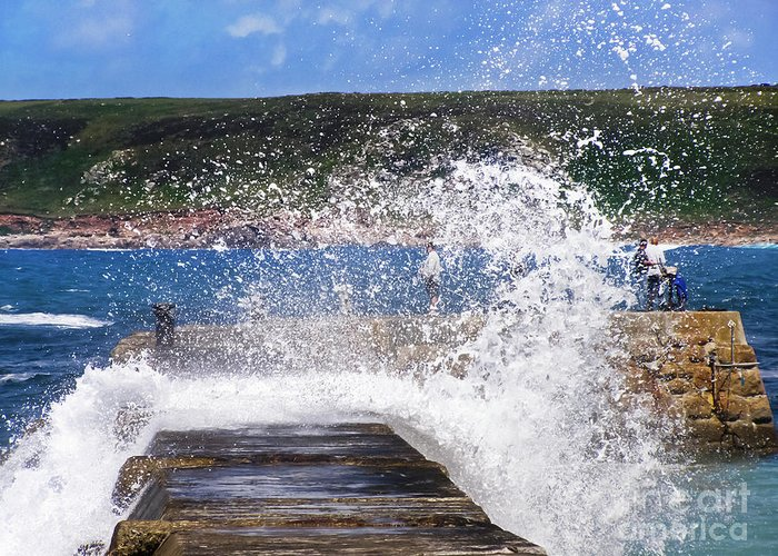 Sennen Cove Greeting Card featuring the photograph Fishing Beyond The Surf by Terri Waters