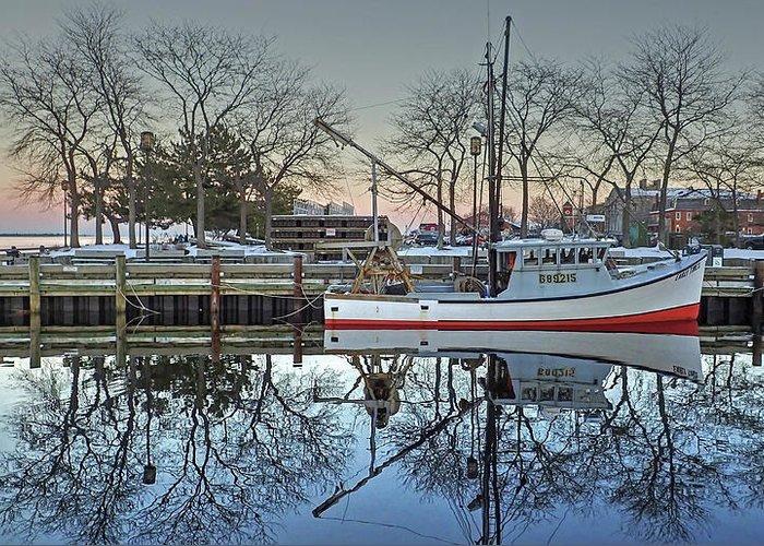 Newburyport Harbor Dock Waterfront Fishing Boat Merrimack River Massachusetts Newbury Greeting Card featuring the photograph Fishing Boat At Newburyport by Wayne Marshall Chase