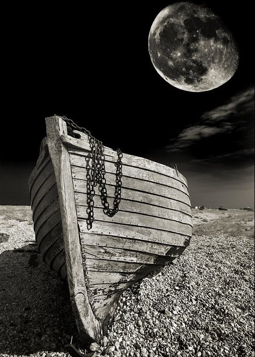 Moody Greeting Card featuring the photograph Fishing Boat Graveyard 3 by Meirion Matthias