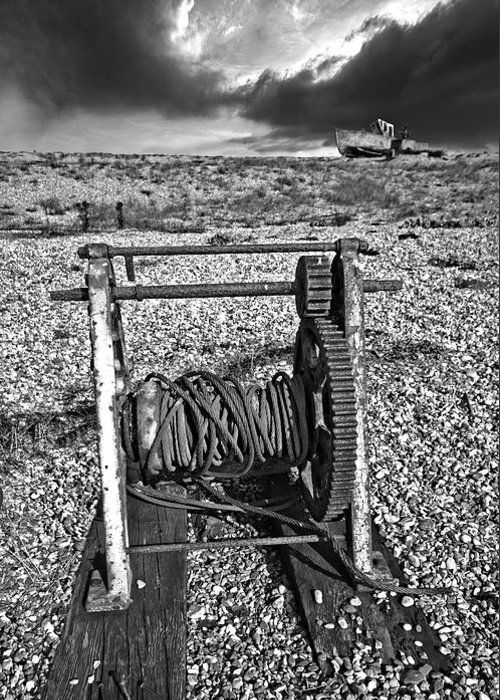 Winch Greeting Card featuring the photograph Fishing Boat Graveyard 8 by Meirion Matthias