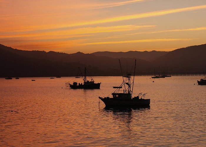 Fishing boats at dawn greeting card for sale by art block for Avila beach fishing
