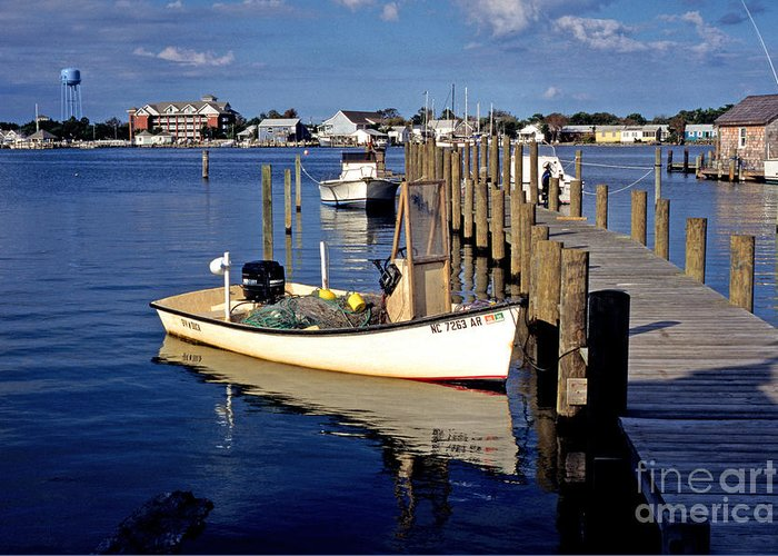 Usa Greeting Card featuring the photograph Fishing Boats At Dock Ocracoke Village by Thomas R Fletcher