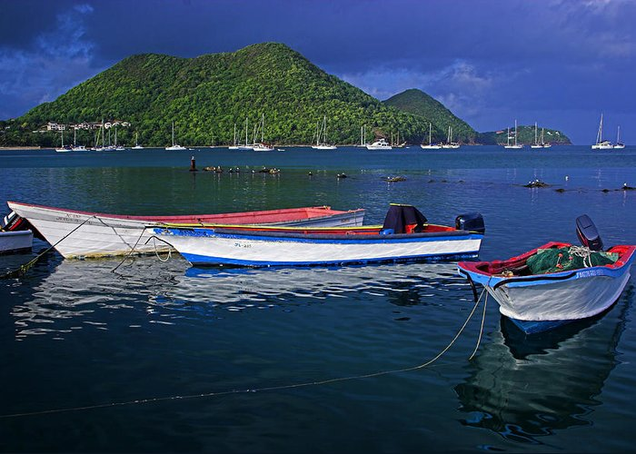 Boat Greeting Card featuring the photograph Fishing Boats At Sunrise- St Lucia by Chester Williams