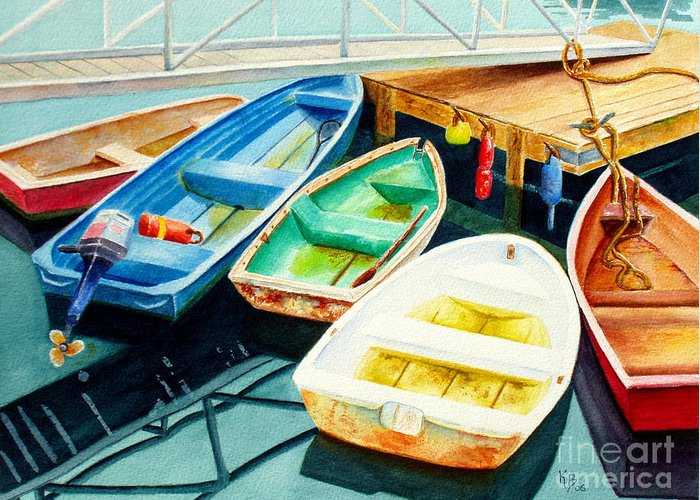 Fishing Greeting Card featuring the painting Fishing Boats by Karen Fleschler