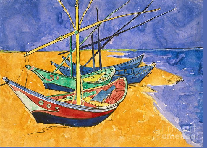 Fishing Greeting Card featuring the painting Fishing Boats On The Beach At Saintes Maries De La Mer by Vincent Van Gogh