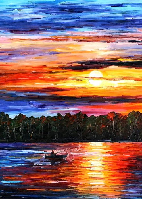 Seascape Greeting Card featuring the painting Fishing By The Sunset by Leonid Afremov