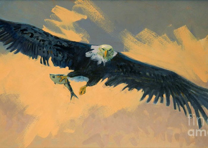 Bald Eagle Greeting Card featuring the painting Fishing Eagle by Donald Maier
