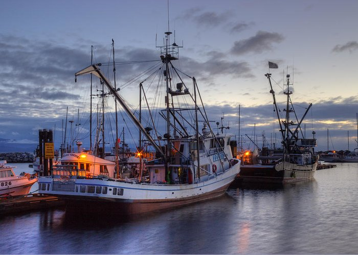 Fishing Boats Greeting Card featuring the photograph Fishing Fleet by Randy Hall
