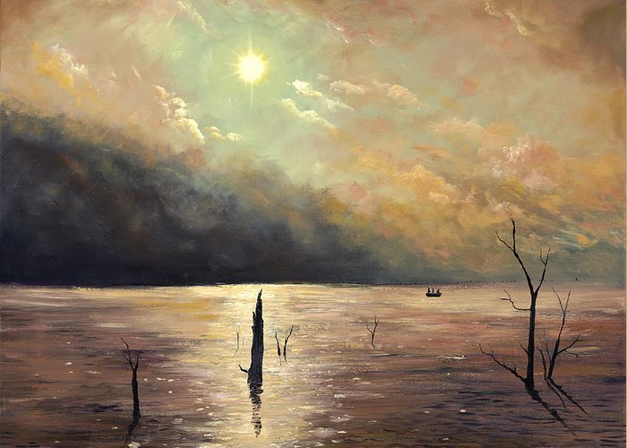 Landscape Greeting Card featuring the painting Fishing In The Twilight Waters by Connie Tom