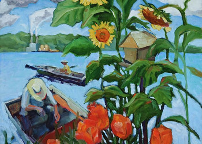 Painting Greeting Card featuring the painting Fishing by Jean Stark