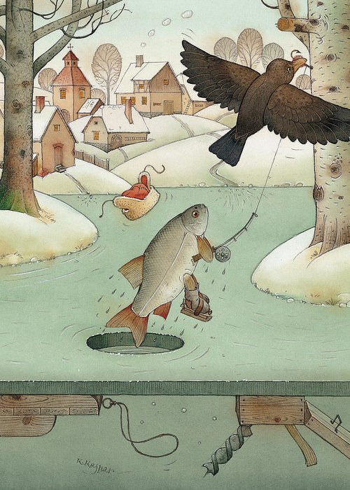 Landscape Winter Fishing Crow Greeting Card featuring the painting Fishing by Kestutis Kasparavicius