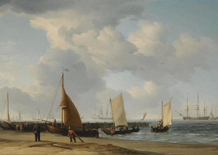 Charles Brooking A Dutch Fishing Pinck Hauled Up On The Beach Greeting Card featuring the digital art Fishing by Mark Carlson