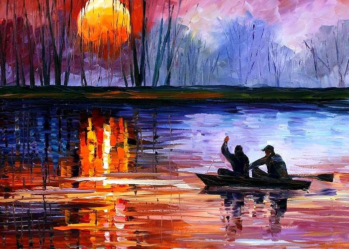 Seascape Greeting Card featuring the painting Fishing On The Lake by Leonid Afremov