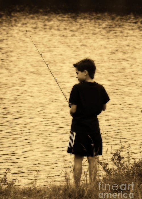 Child Greeting Card featuring the photograph Fishing Patience by Cathy Beharriell