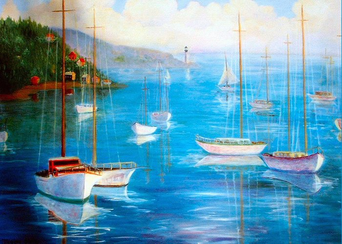 White Fishing Boats Greeting Card featuring the painting Fishing Port by Jeanene Stein