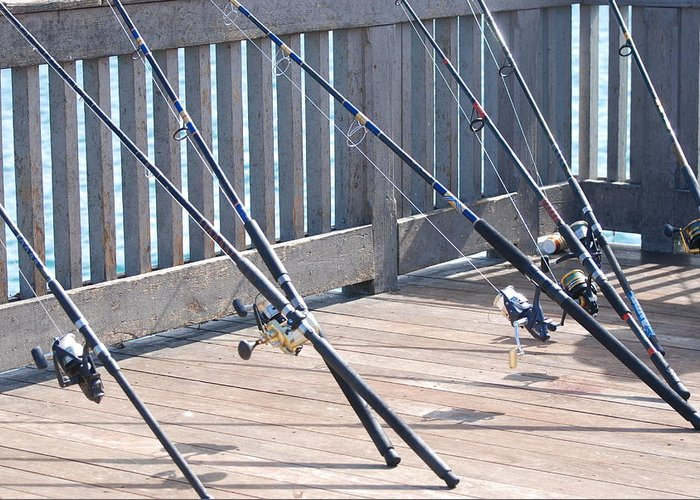 Pier Greeting Card featuring the photograph Fishing Rods by Rob Hans